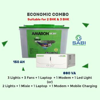 Amaron Hi-Backup 880VA Sinewave Home UPS with Current AR150TN54 Tall Tubular Battery
