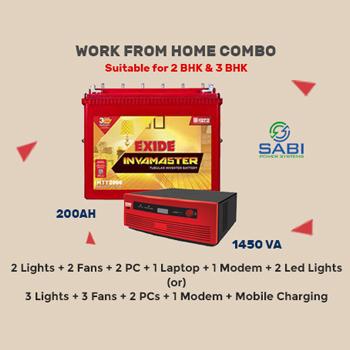 Exide 1450VA Sinewave Home UPS + Inva Master 200AH Tall Tubular Battery 54M Wrnty Combo