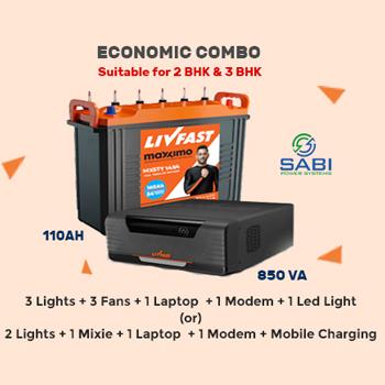 Livfast FCS 850VA Sinewave Inverter with MXSTT1454 110AH Tall Tubular Battery Combo