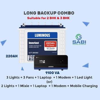 Luminous 1100VA Home Inverter UPS + 220AH Tall Tubular Long Backup Combo