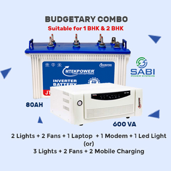 Microtek EB700 (600VA) Home Square Wave Home UPS + MTek 80AH Tubular Battery 48M Wrnty Combo