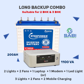 Microtek UPS SW e2+ 1225 Sinewave Home UPS with 200AH Tall Tubular Battery 36M Wrnty Combo